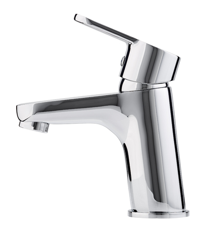 Mixer cold hot water. Modern faucet  bathroom.  Kitchen tap  . Isolated  white background. Side view. Standard-Bild