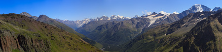Panoramic view of the mountain valley near Elbrus in the North Caucasus. Stock Photo