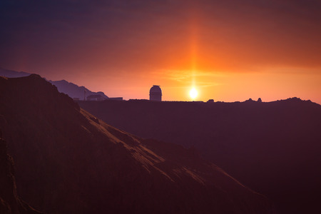 Sunrise in the mountains. Observatory in the mountains to explore space.