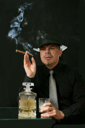 Portrait man in hat glass alcohol and cigar  Stock Photo