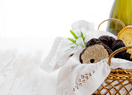 Delisious black truffles in golden basket whith bread Stok Fotoğraf