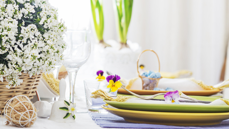 Spring holiday Easter table setting,