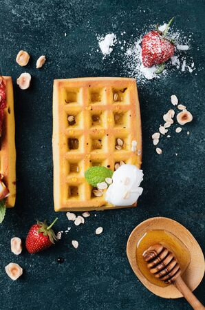 Belgian waffles with  summer fresh berries and honey Banco de Imagens