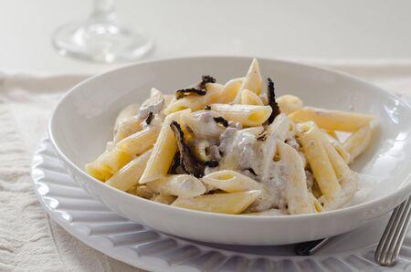 Penne alla norcina - pasta italiana con salsa di panna e tartufo nero in piatto bianco, spazio di testo libero.