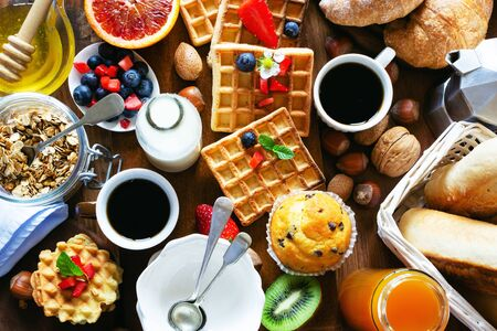 Health and colorful breakfast  on wooden
