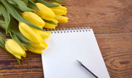 Yellow tulips bouquet with empty blank notepad and pen on wooden background. Greeting mock up card for Mothers day, Womens day, Easter or wedding invitation. Stockfoto
