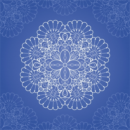 Ornamental round lace pattern  Circle lace doily Vector