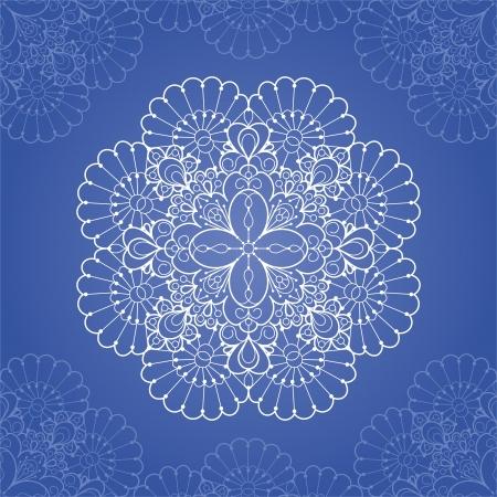 Ornamental round lace pattern  Circle lace doily