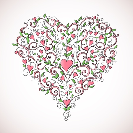 Heart-shaped ornament  Floral ornament with hearts  Romantic pattern Stock Vector - 15472334