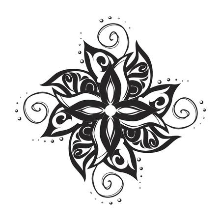 dessin noir blanc: Noir et blanc ornement tatouage artistique Illustration