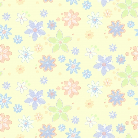 pastel shades: Seamless pattern with flowers, hand-drawn style  Simple background