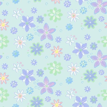 Seamless pattern with flowers, hand-drawn style  Simple background Vector