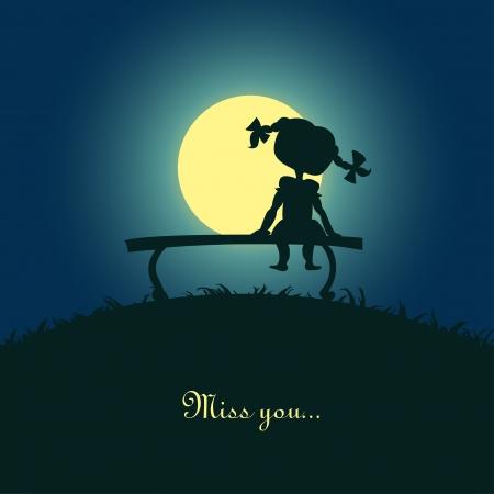 melancholy: Silhouet van een meisje zitten eenzaam in het maanlicht Design for card Stock Illustratie