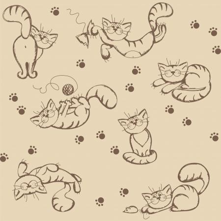 chaton en dessin anim�: Seamless avec des chats dr�les de bande dessin�e, illustration Illustration