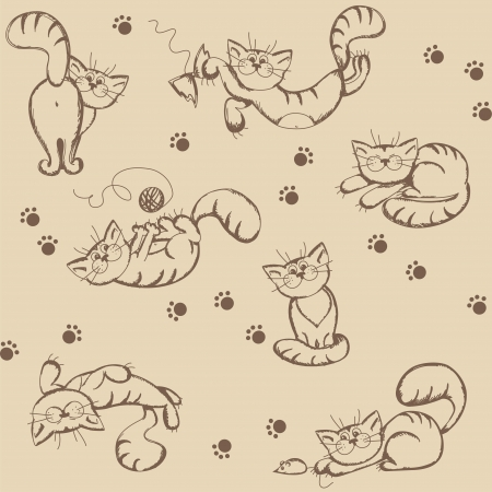Seamless background with cartoon funny cats,  illustration Vector