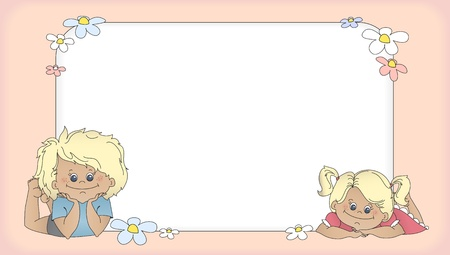 flower border pink: Cartoon boy and girl lying next to a banner with space for your text  Template for card