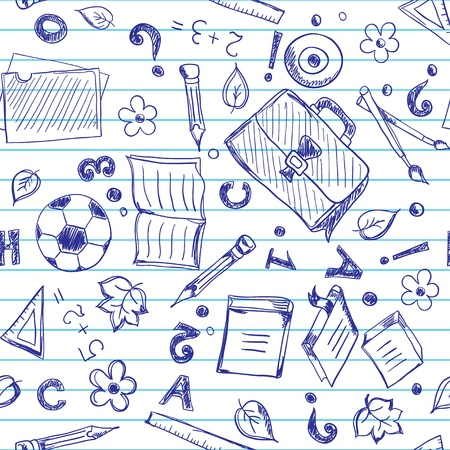 copybook: Seamless pattern with school objects stylized under drawn in a copybook Illustration