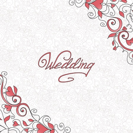 Background with hearts  Template of wedding card Stock Vector - 16110328