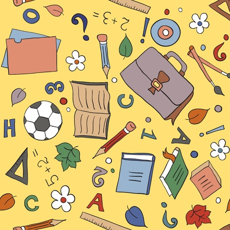 Seamless pattern with school objects  Hand-drawn cartoon background