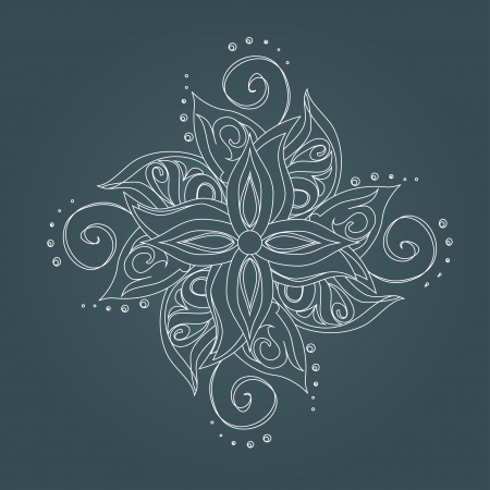 cross tattoo: Abstract floral pattern  Stylized flower against dark green background