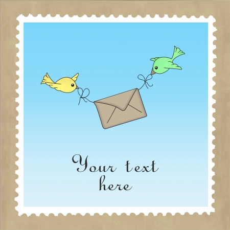 Two birds carrying a letter, delivering mail  Template for card  Vector