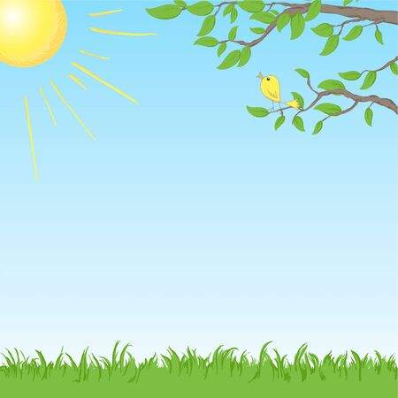 Background with hand-drawn elements and space for your text  Blue sky, sun, tree, bird, grass Stock Vector - 16253665