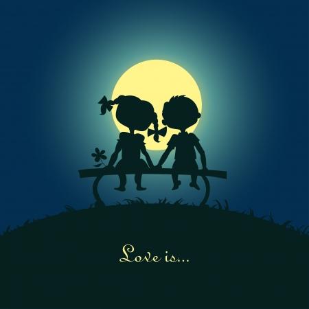 소년의 실루엣과 카드의 벤치 템플릿의 desigh에 달빛에 앉아있는 여자