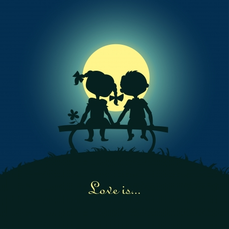 siluetas de enamorados: Siluetas de un chico y una chica sentada en la luz de la luna en un desigh Plantilla para la tarjeta de banco