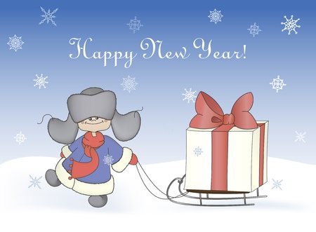 fur cap: Cartoon illustration, boy pulling a sledge with a gift box  Winter, christmas, new year card