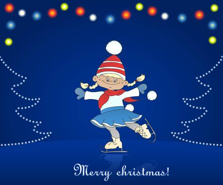 Christmas card with cartoon girl skating  Dark background with christmas ligh Vector