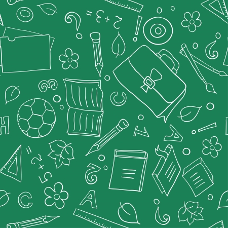 Seamless pattern with school objects stylized under drawn in chalk on a blackboard Vector