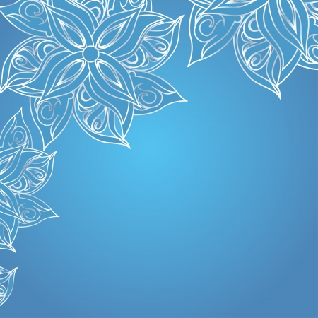xmas floral: Blue background with floral ornament and space for your text  Template frame design for card