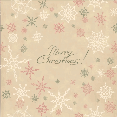 Retro christmas background with snowflakes  Vintage template design for card Stock Vector - 16566028