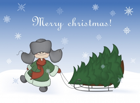 Cartoon illustration, boy pulling a sledge with a fir-tree  Winter, christmas, new year card Stock Vector - 16566025