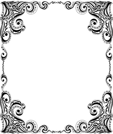 outline flower: Abstract floral pattern  Template frame design for card
