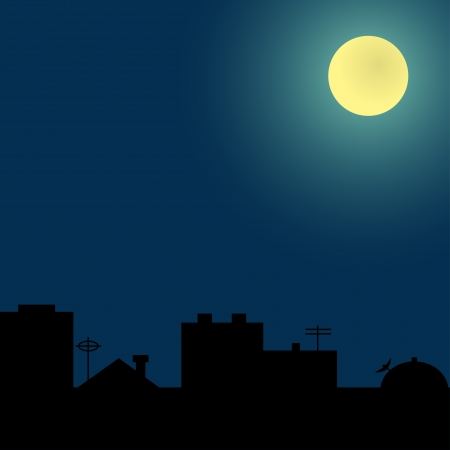 moonshine: Background with silhouettes of roofs under the full moon