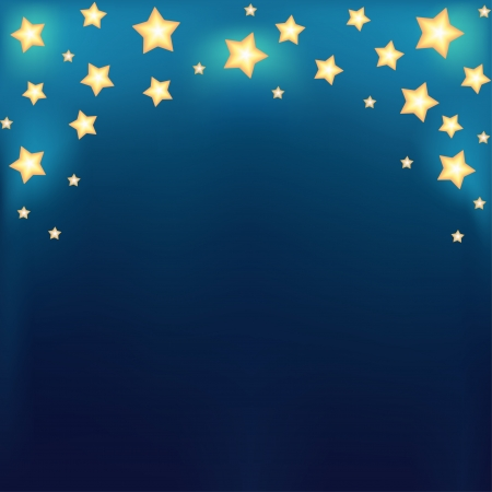 evening glow: Background with shiny cartoon stars  Template design for card  Illustration