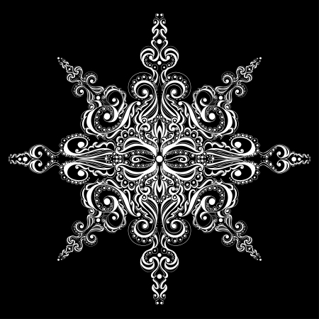 Ornamental white snowflake against black background  Tattoo pattern Stock Vector - 17330668