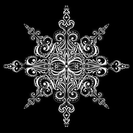 Ornamental white snowflake against black background  Tattoo pattern