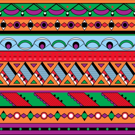 national border: Seamless ethnic background  Mexican, african endless pattern Illustration