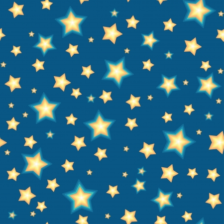 Cartoon stars against blue background  Seamless pattern Stock Vector - 17338794