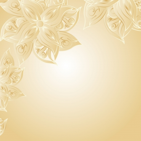 golden border: Golden background with floral ornament and space for your text  Template frame design for card  Illustration