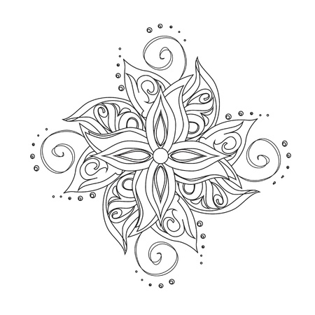 Abstract floral pattern  Stylized flower against white background Vector