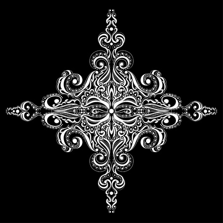 Ornamental white snowflake against black background  Tattoo pattern Stock Vector - 17503443