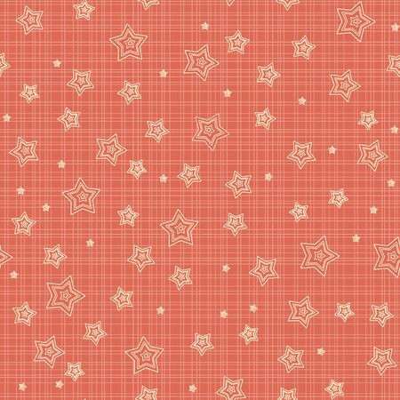 Outline stars against red background  Seamless pattern Stock Vector - 17503444