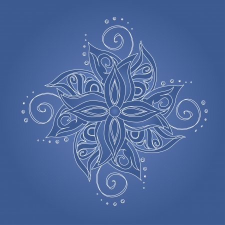 Abstract floral pattern  Stylized flower against blue background