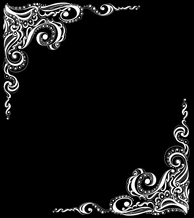 Abstract floral tattoo pattern against black background  Template frame design for card, Illustration