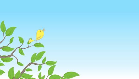 sentimental: Background with a bird on a tree, vector illustration