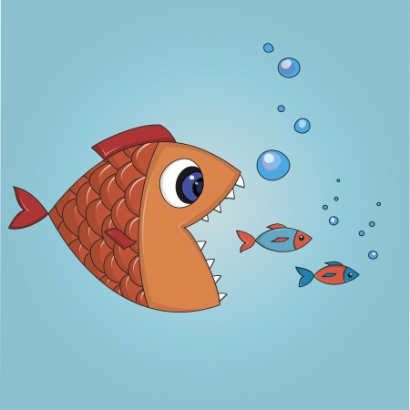 Cartoon illustration  fish trying to eat two small fishes Illustration
