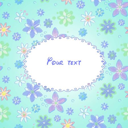 pastel shades: Greeting card with background of hand-drawn flowers